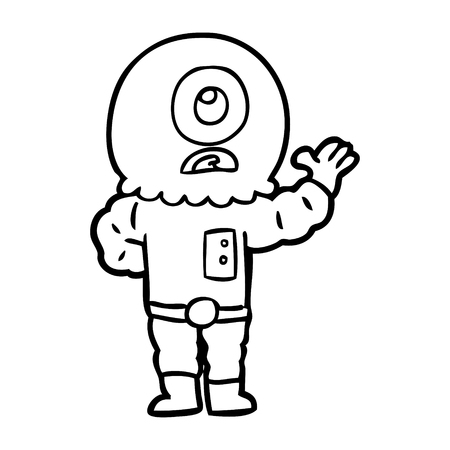 A cartoon cyclops alien spaceman isolated on white background.