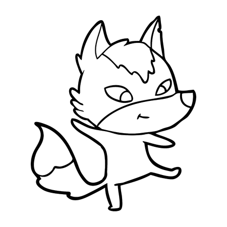 friendly cartoon wolf dancing Vector illustration.
