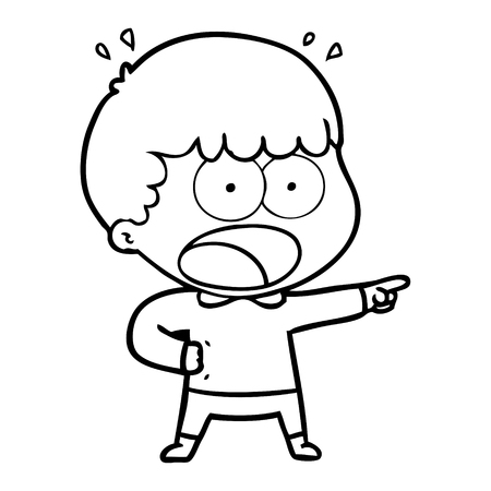 A cartoon shocked man pointing isolated on white background.