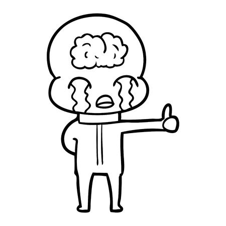 Cartoon big brain alien crying but giving thumbs up symbol vector illustration