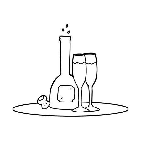 Cartoon champagne on tray vector illustration