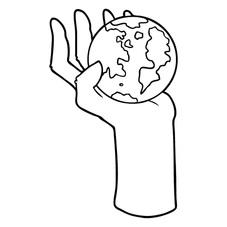 cartoon hand holding whole earth Vector illustration. Stock Illustratie