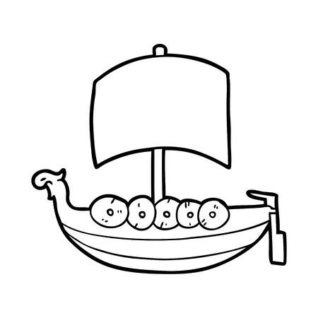 Cartoon viking boat vector illustration Illustration