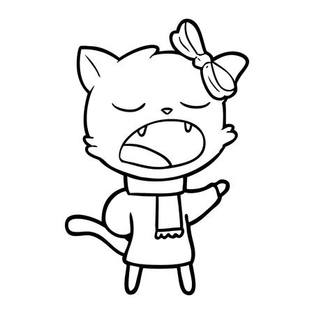 cartoon cat in winter clothes Vector illustration. Banque d'images - 95692977