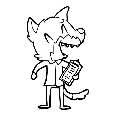 Laughing fox salesman vector illustration 일러스트