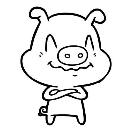 nervous cartoon pig Vector illustration. Ilustração