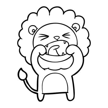 Cartoon shouting lion illustration on white background.