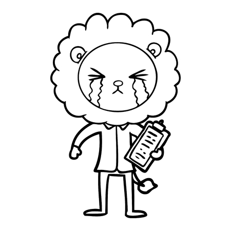 cartoon crying lion with clipboard Vector illustration.