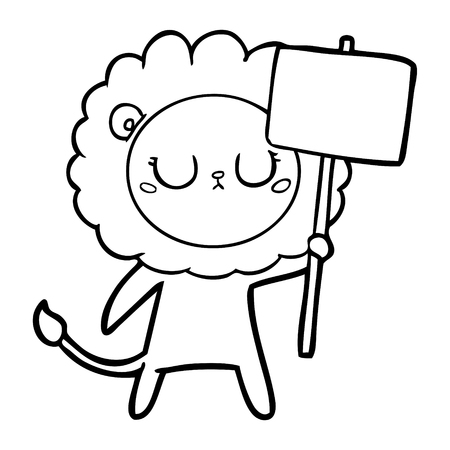 A cartoon lion with protest sign isolated on white background.