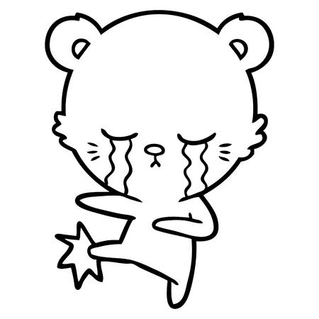 crying cartoon polar bear  Vector illustration. Çizim