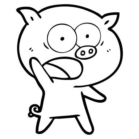 Cartoon pig shouting vector illustration