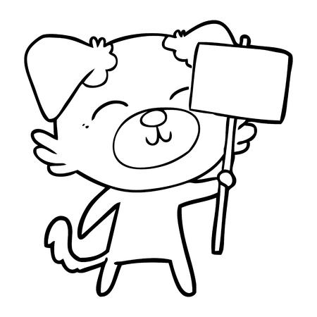 Cartoon Hund mit Protest Zeichen Standard-Bild - 95670769