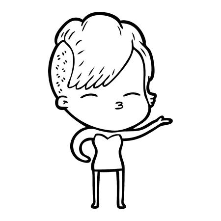 cartoon squinting girl Vector illustration.