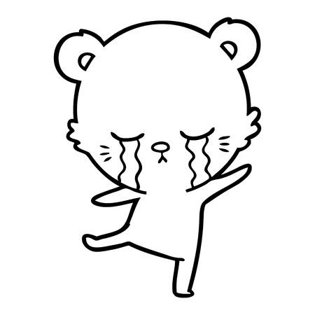 crying cartoon bear balancing Vector illustration.