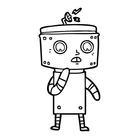 onzekere cartoon robot Vector illustratie. Stock Illustratie