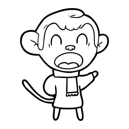 shouting cartoon monkey wearing scarf Vector illustration.