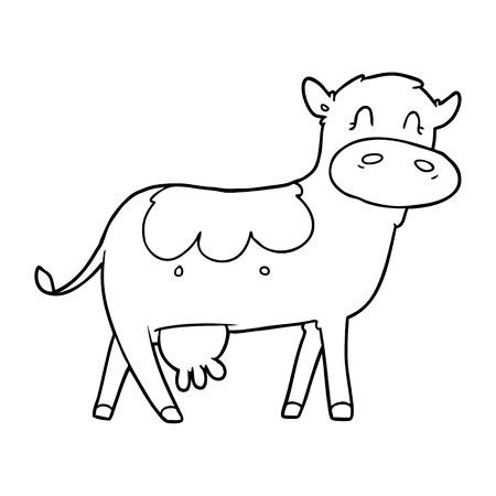 cartoon dairy cow Vector illustration. Çizim