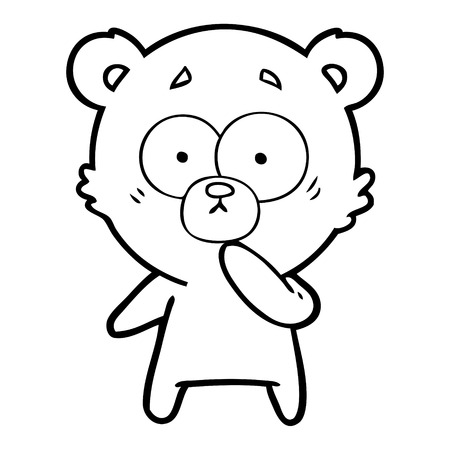 nervous polar bear cartoon Vector illustration.
