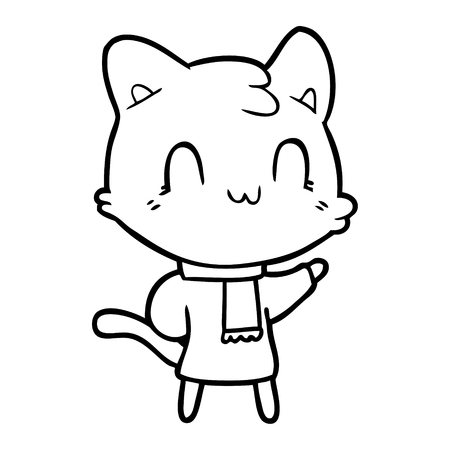 A cartoon happy cat wearing scarf isolated on white background.