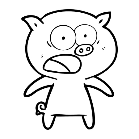 A cartoon pig shouting isolated on white background. 向量圖像
