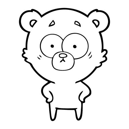 A surprised bear cartoon isolated on white background. Stock Illustratie