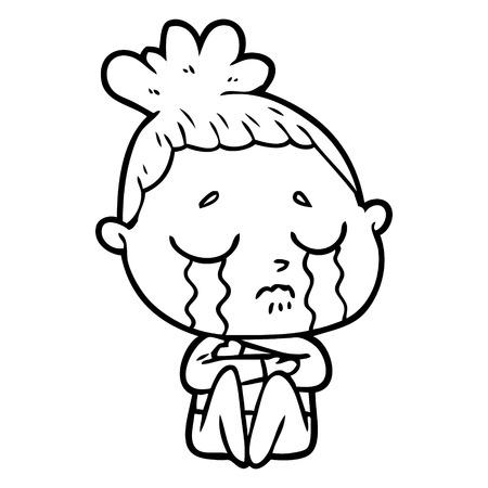 cartoon crying woman hugged up Vector illustration.