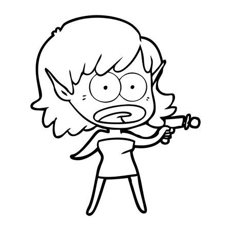 Cartoon shocked alien girl with ray gun illustration on white background. Vettoriali