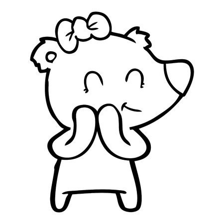 shy female polar bear cartoon Vector illustration. Archivio Fotografico - 95693180