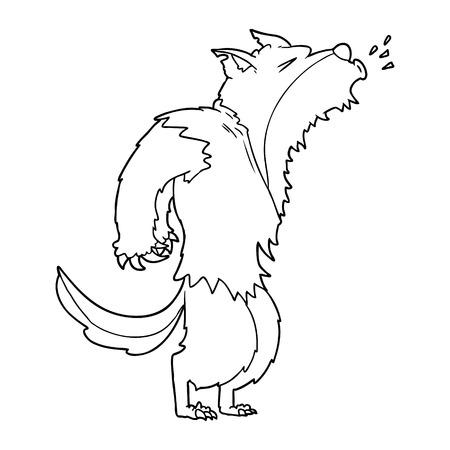 cartoon howling werewolf Vector illustration. Stock Illustratie