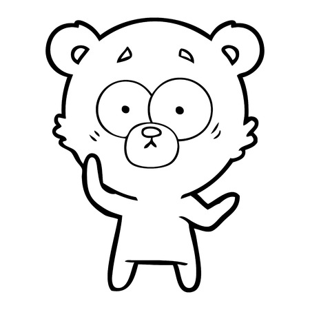 A surprised bear cartoon isolated on white background. Illustration