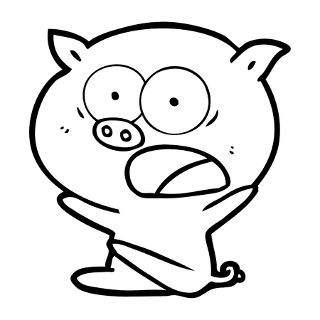 A shocked cartoon pig sitting down isolated on white background.