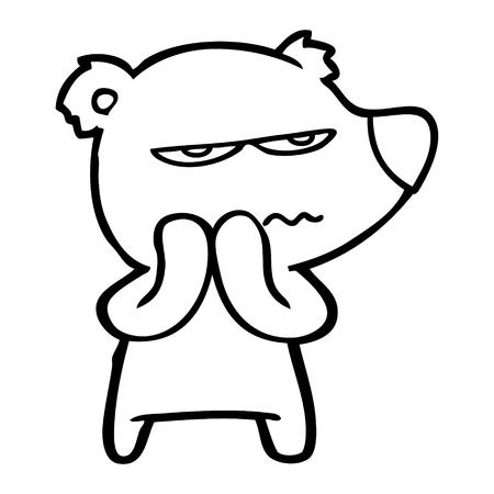 angry bear cartoon Vector illustration.