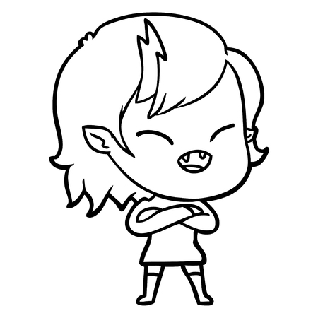 cartoon laughing vampire girl with crossed arms