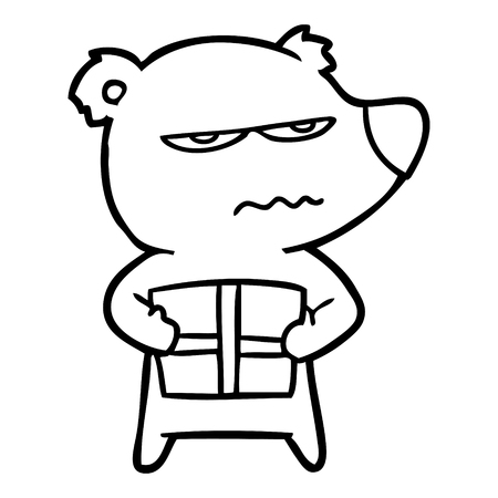 angry bear cartoon holding present Vector illustration.