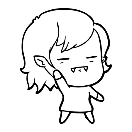 Ein un-totes Vampirsmädchen der Karikatur lokalisiert auf weißem Hintergrund. Standard-Bild - 95673367