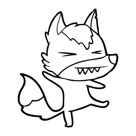 Angry wolf cartoon isolated on white background.