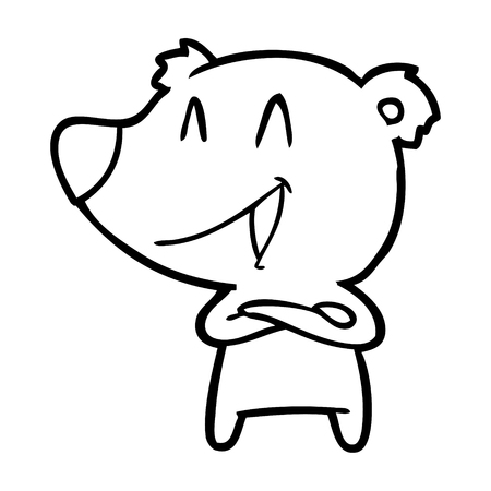 A laughing bear with crossed arms cartoon isolated on white background.