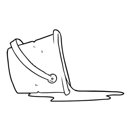 Cartoon spilled bucket of water vector illustration
