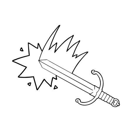 swinging cartoon sword Vector illustration. Ilustrace