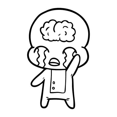 漫画大脳エイリアン泣くベクトルイラスト。  イラスト・ベクター素材