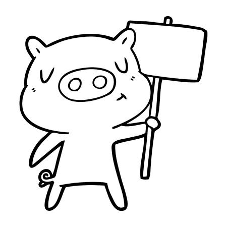 Un panneau de contenu de dessin animé de porc; signe isolé sur fond blanc. Banque d'images - 95674140