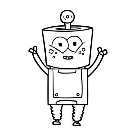 Happy cartoon robot waving hello vector illustration Illustration