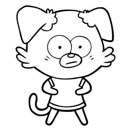 nervous dog cartoon Vector illustration.