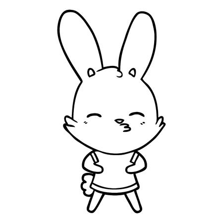 Curious bunny cartoon vector illustration