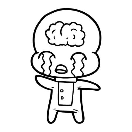 白い背景に孤立して泣く漫画の大きな脳のエイリアン。