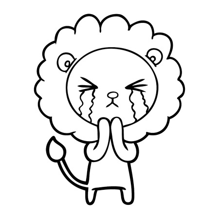 A cartoon crying lion praying isolated on white background. Stock Illustratie