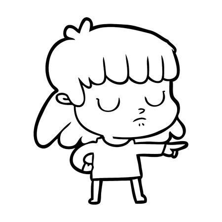 cartoon indifferent woman pointing Vector illustration. Illustration