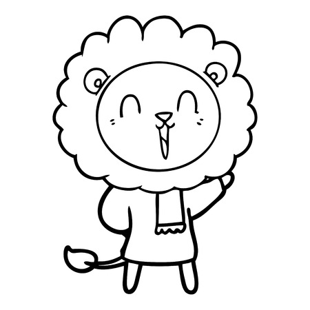 laughing lion cartoon in winter clothes Vector illustration.