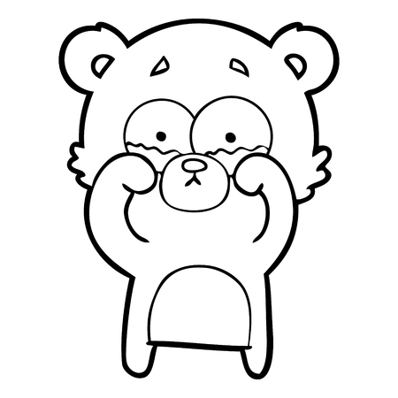 A cartoon crying bear rubbing eyes isolated on white background.