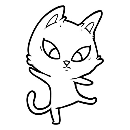 A confused cartoon cat isolated on white background.